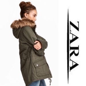 Zara Army Green Hooded Jacket S